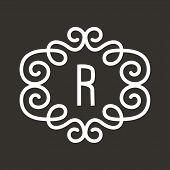 White Vector Vintage Twirl Frame for R Letter Monogram