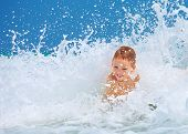 Cute Excited Boy Having Fun In Waves, Summer Vacation