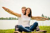 Feeling free - young happy couple