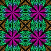 Symmetrical Fractal Pattern In Stained-glass Window Style. Purple, Brown And Green Palette. On Black
