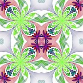 Fabulous Symmetrical Pattern Of The Petals. Green And Purple Palette. Computer Generated Graphics.