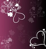Purple Background With Floral Ornaments And Hearts