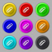 Paper Clip Sign Icon. Set Of Colored Buttons. Vector
