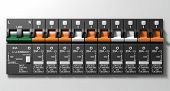 picture of busbar  - A row of switched off household electrical circuit breakers on a wall panel - JPG
