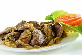 image of liver fry  - Fried chicken livers with onion on white plate - JPG