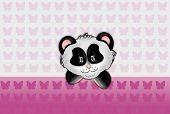 Panda Head On Pink Butteflies Background