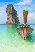 Old Wooden Boat On A Tropical Island.