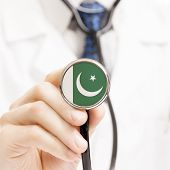 National Flag On Stethoscope Conceptual Series - Pakistan