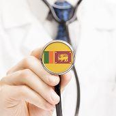 National Flag On Stethoscope Conceptual Series - Sri Lanka