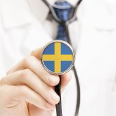 National Flag On Stethoscope Conceptual Series - Sweden