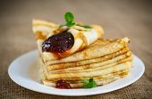 Many Thin Pancakes With Jam