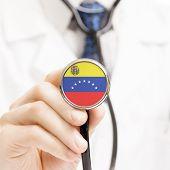 National Flag On Stethoscope Conceptual Series - Venezuela