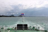 Thai Flag On A Ferry