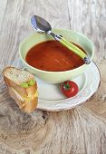 Tomato Soup And Slices Of Baguette With Cheese