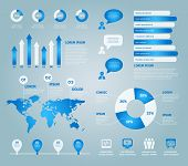 Blue Set Of Vector Infographic Elements