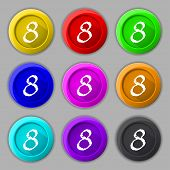 Number Eight Icon Sign. Set Of Coloured Buttons. Vector