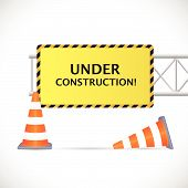 foto of truck-stop  - Illustration of an Under Construction sign with safety cones isolated on a white background - JPG