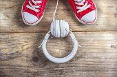 Sneakers and headphones
