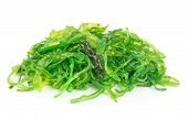 A portion of fresh wakame seaweed