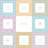 pic of namaste  - Vector illustration of Set of logos and patterns for a yoga studio - JPG