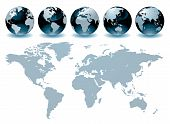 pic of world-globe  - Editable vector illustration of globes of the world - JPG