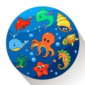 Cute sea creatures set.  illustration.