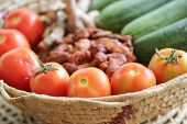 image of tamarind  - Red tomatoes with cucumber and galangal tamarind fruit basket - JPG