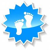 stock photo of webbed feet white  - Tracks web blue icon on a white background - JPG