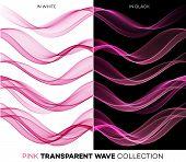 Set of color transparent smoky wave