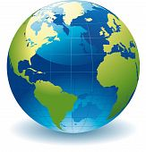image of globe  - editable vector illustration of a globe of the world - JPG