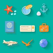 Beach icons in flat style.