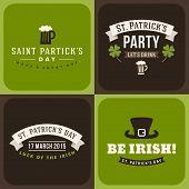 Set Of St. Patricks Day Card Design. Vintage Holiday Badge Design