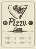 Menu with pizza
