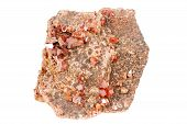 Vanadinite Red Crystals, Mineral Isolated On White Background