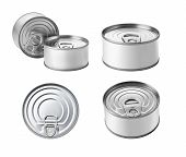 stock photo of cans  - The collection of canned food with Copy Space Isolated on a White Background - JPG
