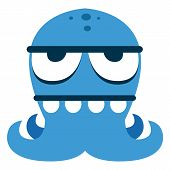 Vector Cartoon Funny Blue Monster Character Isolated