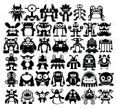 stock photo of monsters  - Vector Cartoon Set Of Different Monsters Isolated - JPG