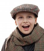 kid fun in scarf and cap accessories portrait isolated white