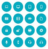 Flat Icon Set For Web And Mobile. Technology Icons