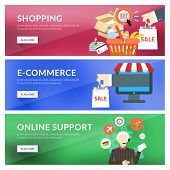 Flat Design Concept For Shopping, E-commerce, Online Support