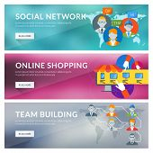 Flat Design Concept For Social Network, Online Shopping, Team Building