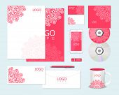 Corporate identity template with floral ornament