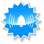 stock photo of blue-bell  - Alarm bell web blue starburst icon on a white background - JPG