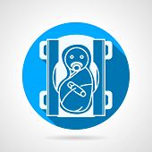 stock photo of nipple  - Blue circle flat vector icon with white silhouette swaddled newborn with nipple on gray background with long shadow - JPG
