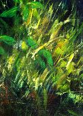 Color Oil Painting, Green Plant On Dark Blue Background Canvas