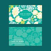 Vector emerald flowerals horizontal frame pattern business cards set