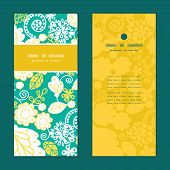 Vector emerald flowerals vertical frame pattern invitation greeting cards set
