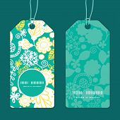 Vector emerald flowerals vertical round frame pattern tags set