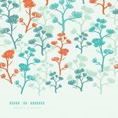 Abstract oriental trees frame horizontal seamless background