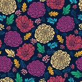 Colorful vibrant flowers on dark seamless pattern background